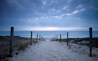 Sunset in the dunes at the coast of Zandvoort, The Netherlands