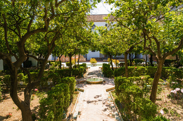 Fountain and gardens of Alcazar de los Reyes Cristianos, Cordoba, Andalusia province, Spain