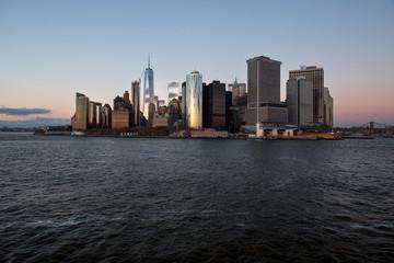 Financial district of Manhattan at sunset, New York, USA