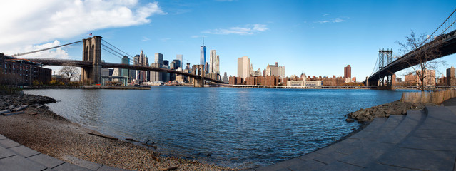 Manhattan Panorama seen from Brooklyn, New York, USA