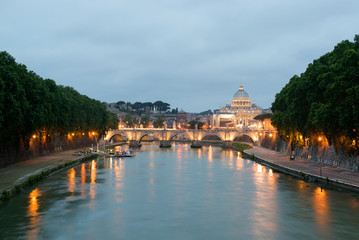 Sunset at the Tiber River, Rome, Italy