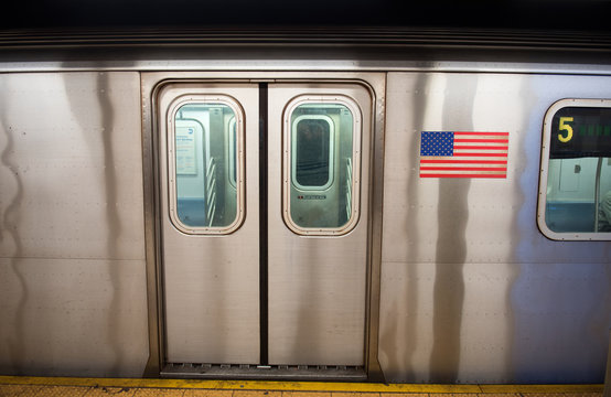 Subway train arrived at subway station, Manhattan, New York