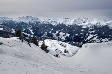 Snowy slopes of the mountains in the Zillertal, Austria