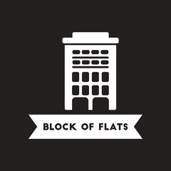 flat icon in black and white style building apartment block