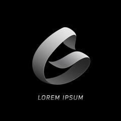 """Letter """"G"""" silver ribbon monogram. Eps10 vector illustration."""