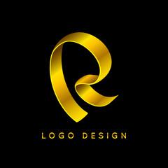 """Letter """"R"""" gold ribbon monogram. Eps10 vector illustration."""