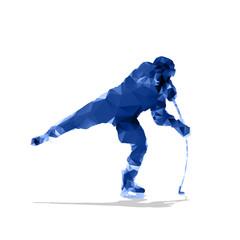 Ice hockey player, abstract geometric silhouette. Shooting hocke