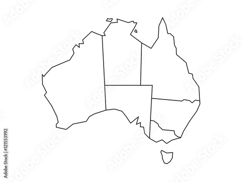 blind map of australia divided into states and territories white flat map with black borders