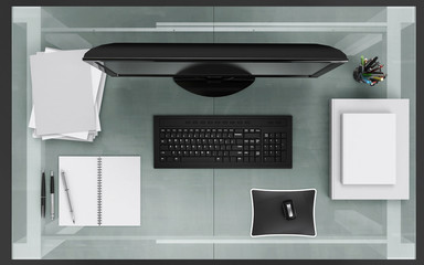 office desk seen from above