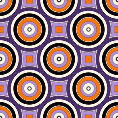 Seamless pattern with symmetric geometric ornament. Abstract background with colorful round vortexes. - 121555978