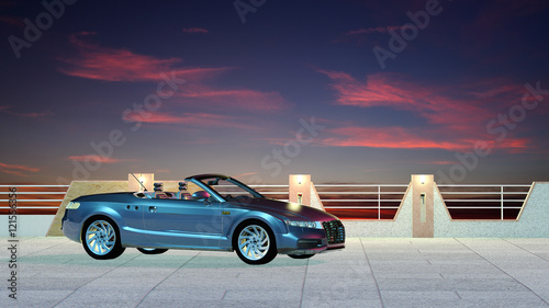 Cabrio Vor Modernem Zaun Stock Photo And Royalty Free Images On