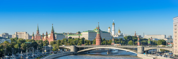 Panorama scenery of Moscow Kremlin and Moscow river from pedestrian bridge at Cathedral of Christ the Saviour
