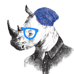 Fototapete - Hand drawn rhino in hipster style