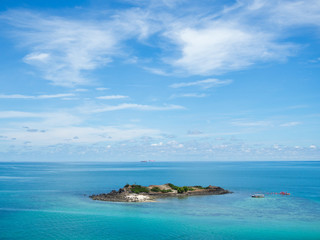 mountain in the sea and blue sky at samae saan island near sattahip ,Chonburi,Thailand.