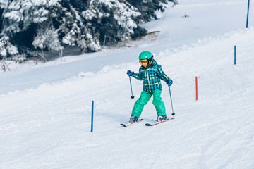 Skiing race for little children