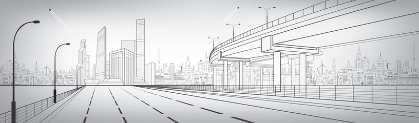 Automotive flyover, architectural and infrastructure panorama, transport overpass, highway. Business center, silver city, towers and skyscrapers, urban scene, vector design art