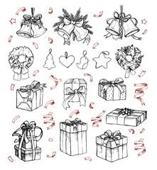 Mega vintage set. Hand drawn vector illustrations - merry christmas