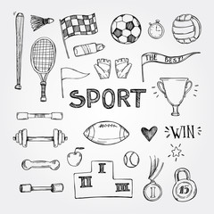 Hand drawn vector illustrations. Sport and fitness set. Sketch
