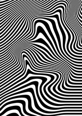Wall Mural - Op art abstract geometric pattern black and white vector illustration