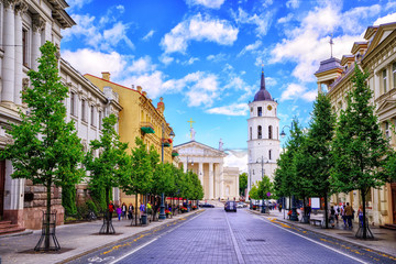 Gediminas Avenue and Cathedral square, Vilnius, Lithuania, Wall mural