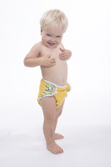 Adorable young boy with cloth diaper