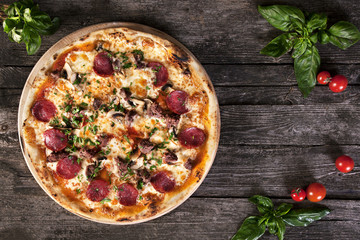 Pepperoni Pizza with salami, mushrooms , meat , beef and green o
