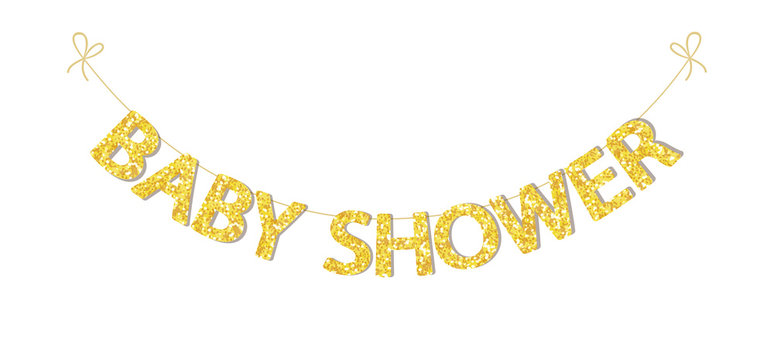 Cute festive vintage bunting for baby shower with beautiful glitter letters for your decoration