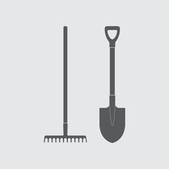 Shovel and rake icon or sign. Gardening tools design. Vector illustration.