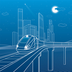 Fototapete - Train move on the bridge. Business center, architecture, transport and urban illustration, neon city, white lines on blue background, skyscrapers and towers, vector design art