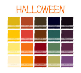 Halloween Classic Tone Colors. Palette Scheme Colorful Colors. with Code. Vector Illustration