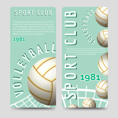 Volleyball sport club brochure flyers template vector