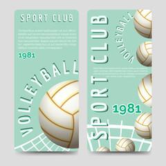 Volleyball sport club brochure flyers template vector