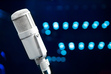 Microphone close up in concert hall on stage