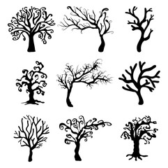 halloween creepy scary bare tree vector symbol icon design.