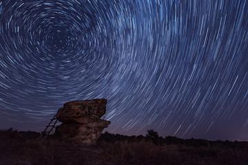 Star trails at Dobrovanski gabi, Bulgaria