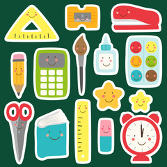 Cute childish Back to School supplies as smiling cartoon characters for your decoration