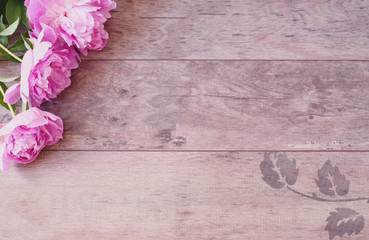 Pink Peonies Flowers on a Wooden Background. Styled Marketing Photography. Styled Stock Photography. Blog Header Image Blog