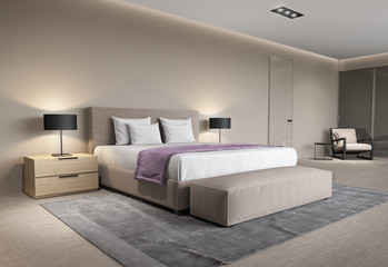 Contemporary beige bedroom with rug