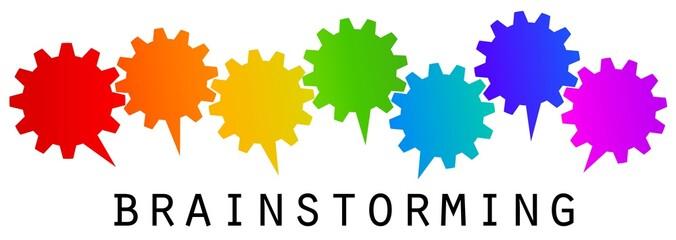 Brainstorming gear vector rainbow concept / Regenbogen Ideenfindung Getriebe Zahnrad Konzept