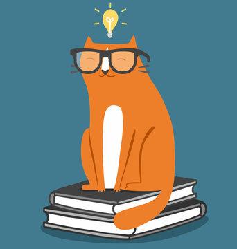 Cat in glasses fun school illustration