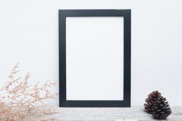 Black frame on table