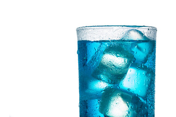 close up tropical blue alcoholic cocktail isolated on a white background with clipping path and copy space