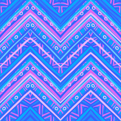 Ethnic zigzag pattern in retro colors, seamless vector backgroun