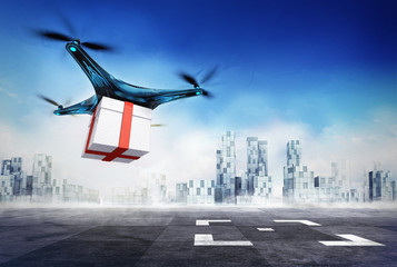 Drone delivery of gift box with the goods on airport target