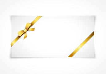 Carte avec ruban doré