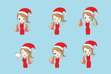 woman shopping happily with christmas