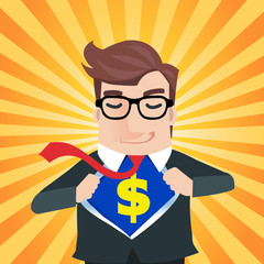 Super business man opening shirt in superhero style. money conce