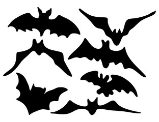 halloween creepy scary bat silhouette vector symbol icon design.