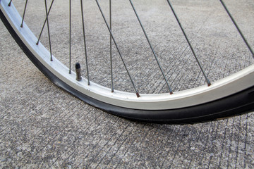flat tire , bicycle valve tube