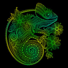 The outline vector illustration of a green chameleon on black background